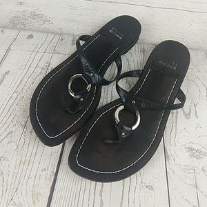 Stuart Weitzman black silver ring sandals 7.5